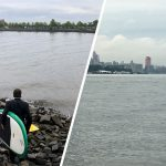Man In Full Suit Got On A Paddle Board, Paddled Across River For A Meeting