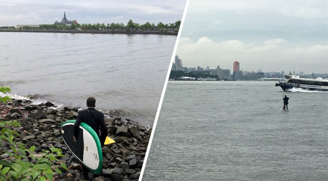 Man in Suit Paddled Across Hudson River