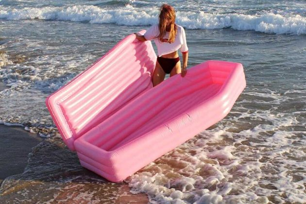 Pom Pom Floats Pink Coffin Pool Toy