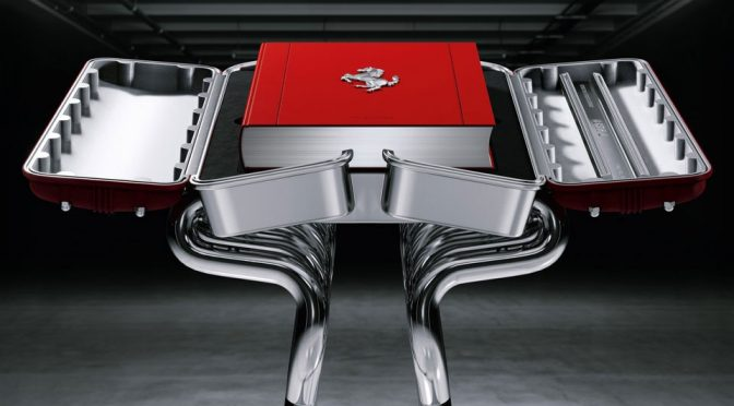Ferrari Book Has A V12 Engine Book Case With Exhaust Headers Stand