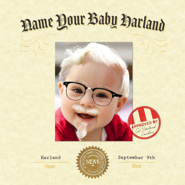 KFC Name Your Baby Harland