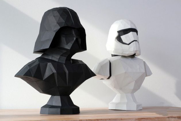 Papercraft Low Poly Darth Vader Bust