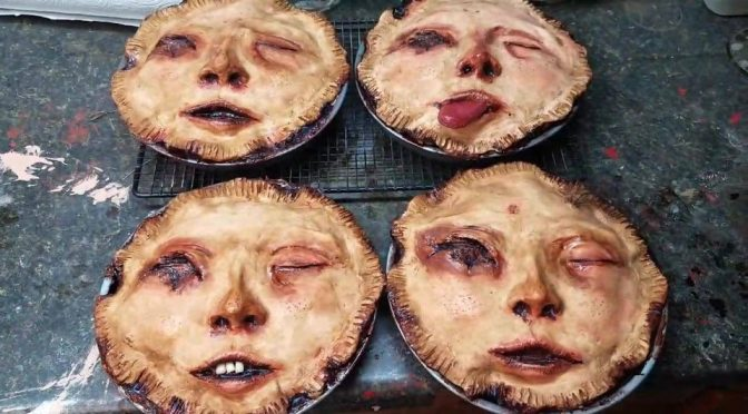 Horror Artist Made Realistic Prop Pies With Creepy Human Face Top Crust