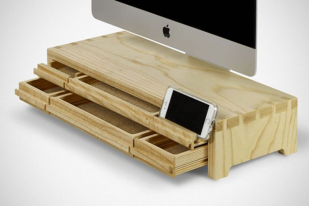 Understands Reclaimed Wood Stand for iMac