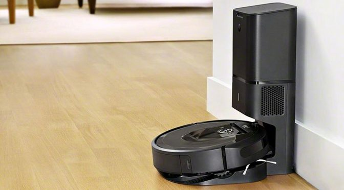 This is iRobot Roomba i7+. It Vacuums And Disposes The Dirt On Its Own