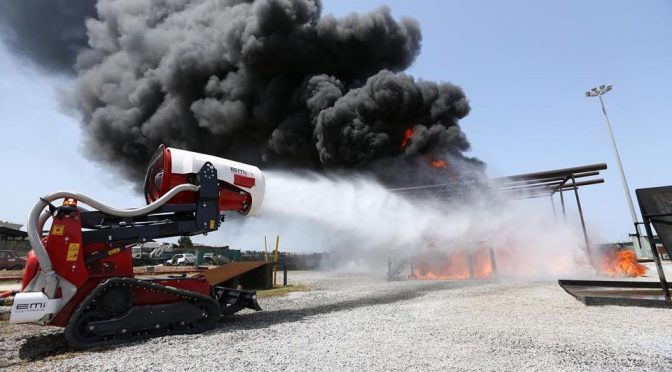 Remotely Operated Fire Fighting Robot Uses Turbine To Combat Fire