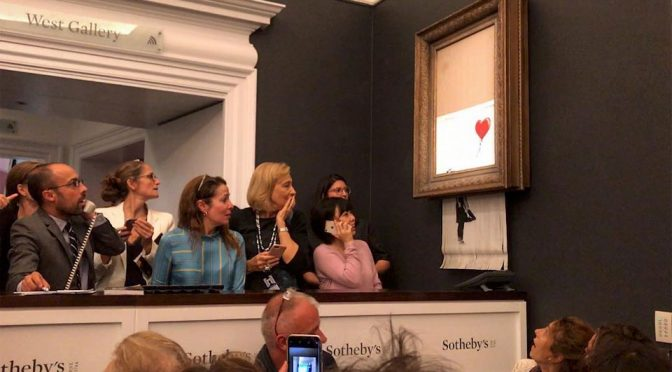 Banksy's Painting Shredded At Sotheby's Auction