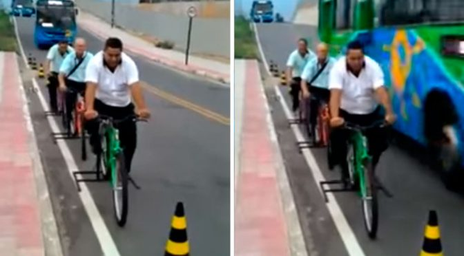 Bus Drivers Sit On Stationary Bikes To Feel What Is Like To Be Cyclists