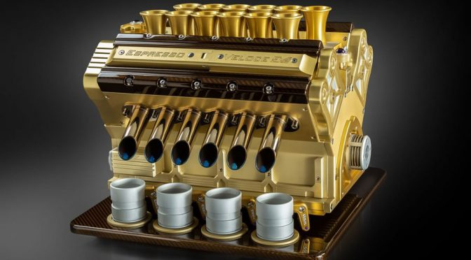 Here's A F1 V12 Engine Espresso Machine In Gold And Diamonds