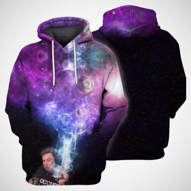 3D Elon Musk Smoking Out Space Hoodie