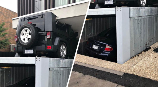 Lift Garage Malfunctioned Crushed Car