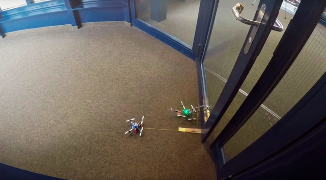 After Robot Dogs, Micro Drones Can Worked Together To Open A Door Too