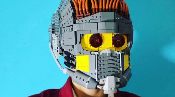 Wearable Star-Lord LEGO Helmet by Brickatecture moc industries