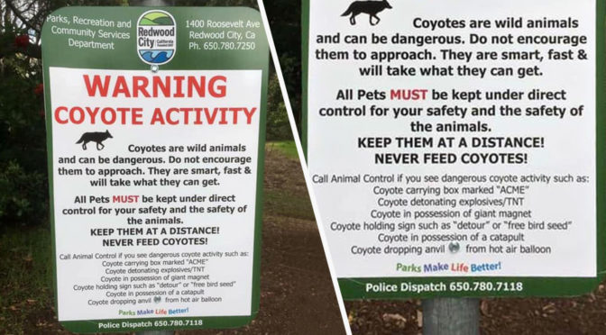 Coyote Warning Sign Redwood City Cali