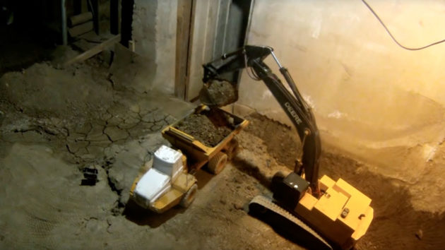 Excavating Basement With RC Construction Toys