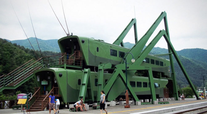 Cafe With Stacked Grasshopper-shaped Trains Looked A Little Wrong
