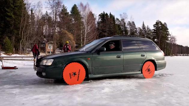 Subaru Legacy with Saw Blade Wheels