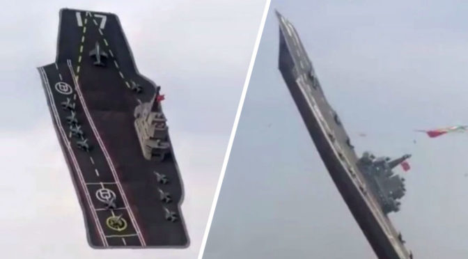 Chinese Aircraft Carrier Took To The Skies At A Precarious Angle