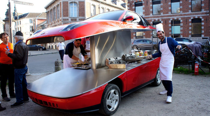 French Artist Cut A Fiat Coupe Into Two, Turn It Into A Mobile Chip Shop
