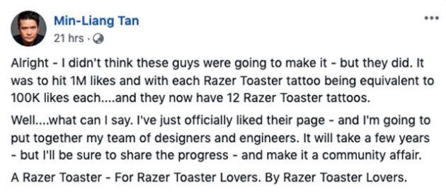 Razer CEO Green Lit Razer Toaster