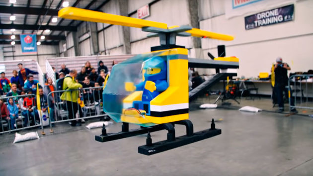 Giant Flying LEGO Helicopter Drone