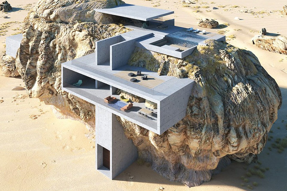 House Inside A Rock Concept Home