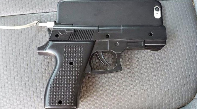 Police Discouraged Use of Handgun Phone Case