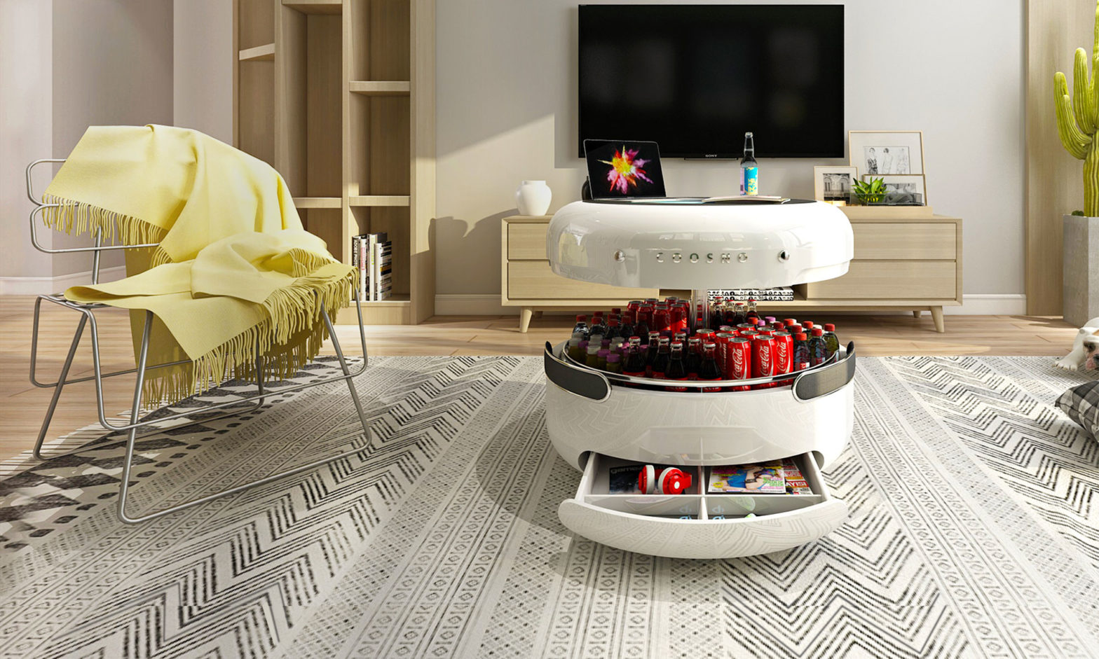 Refrigerator Coffee Table.This Ambitious Coffee Table Is Also A Fridge A Bluetooth Speaker A
