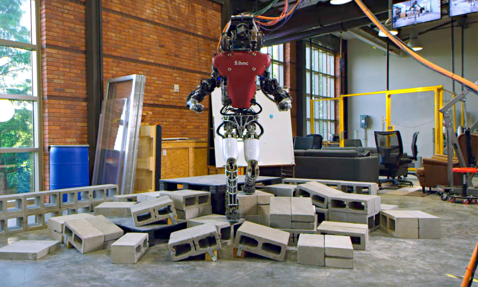 IHMC Robots Walking Over Rough Terrain