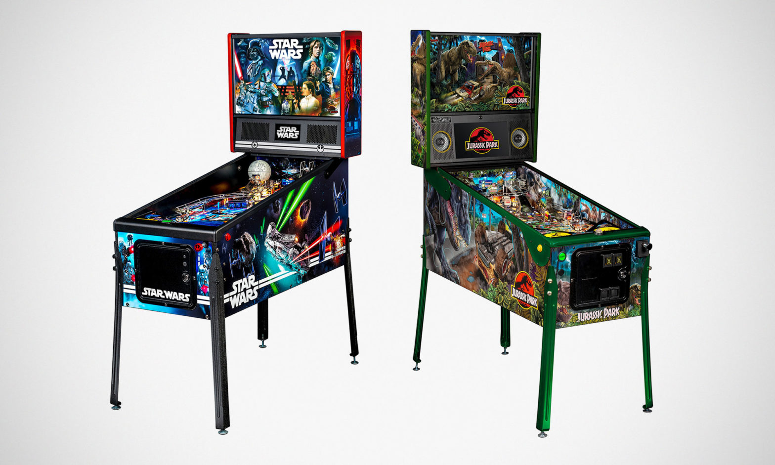 Star Wars and Jurassic Park Pinball Machines