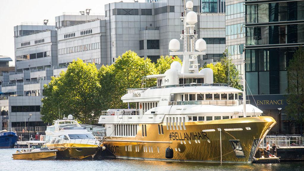 Bellami Hair Gold Vinyl Wrap Yacht