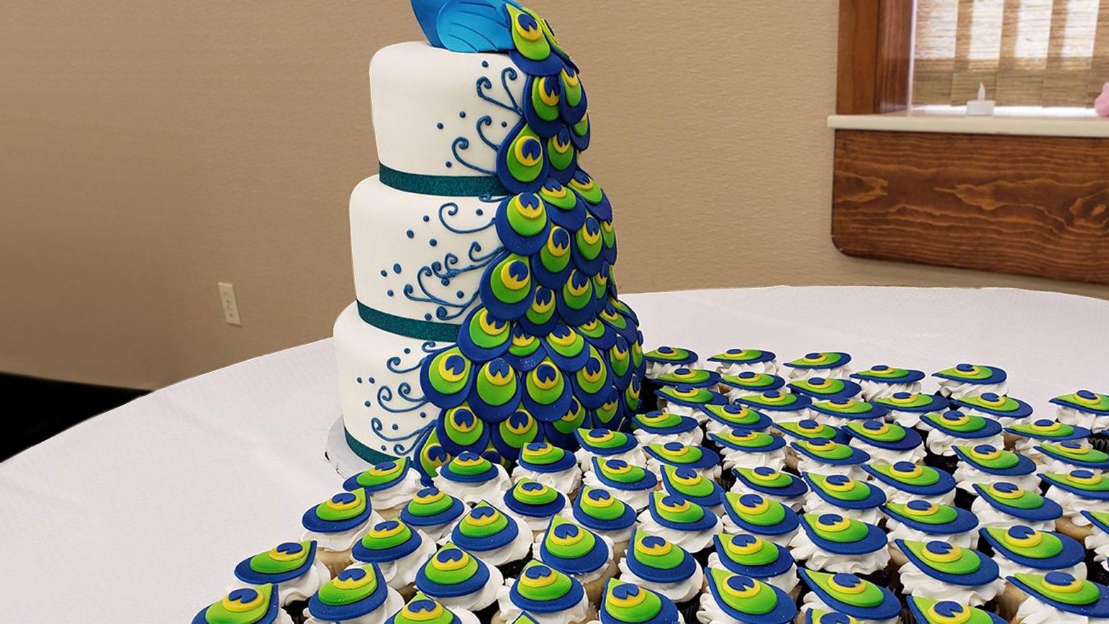 Peacock Cake & Cupcakes