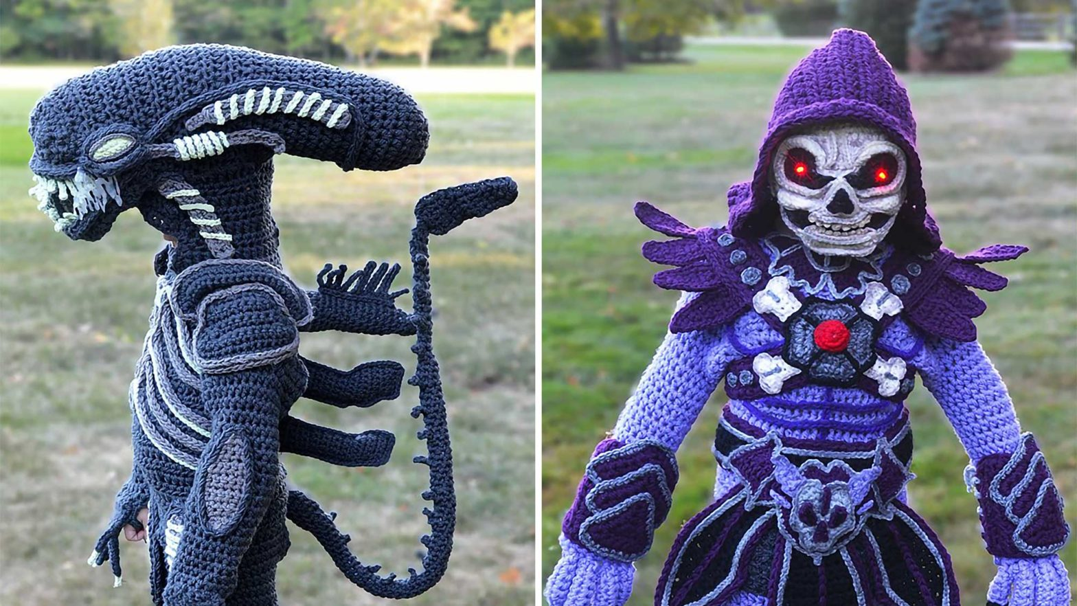 Crochet Alien and Skeletor Costumes