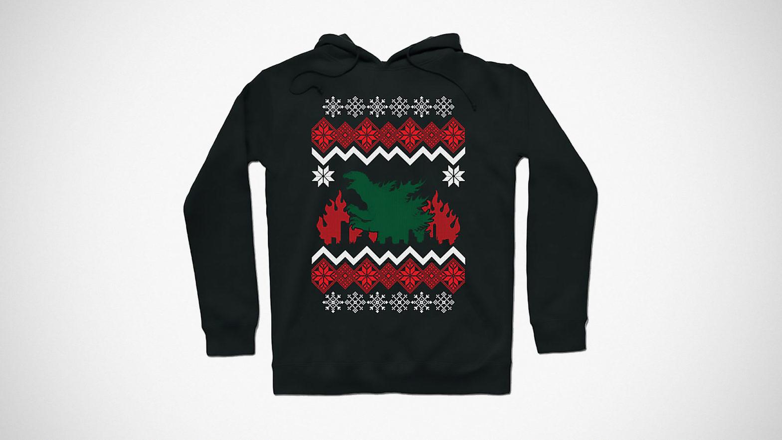 Godzilla Christmas Hoodie Sweater
