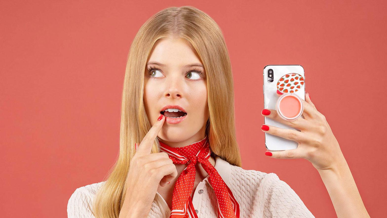 PopGrip Lips Phone Grip Lip Balm Hybrid