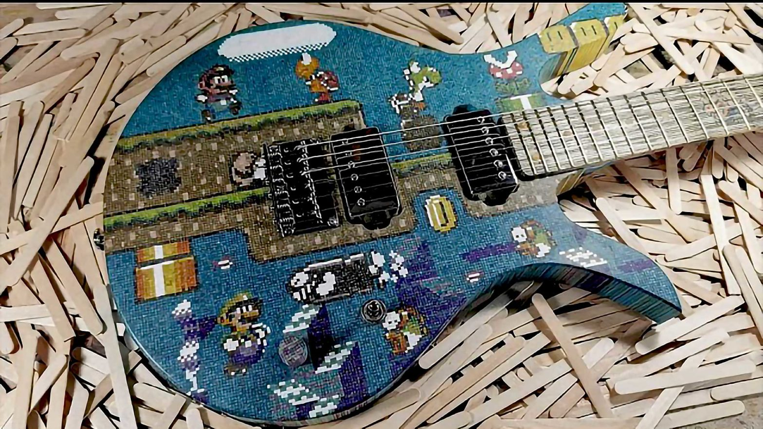 Custom Lollipop Sticks Super Mario Guitar