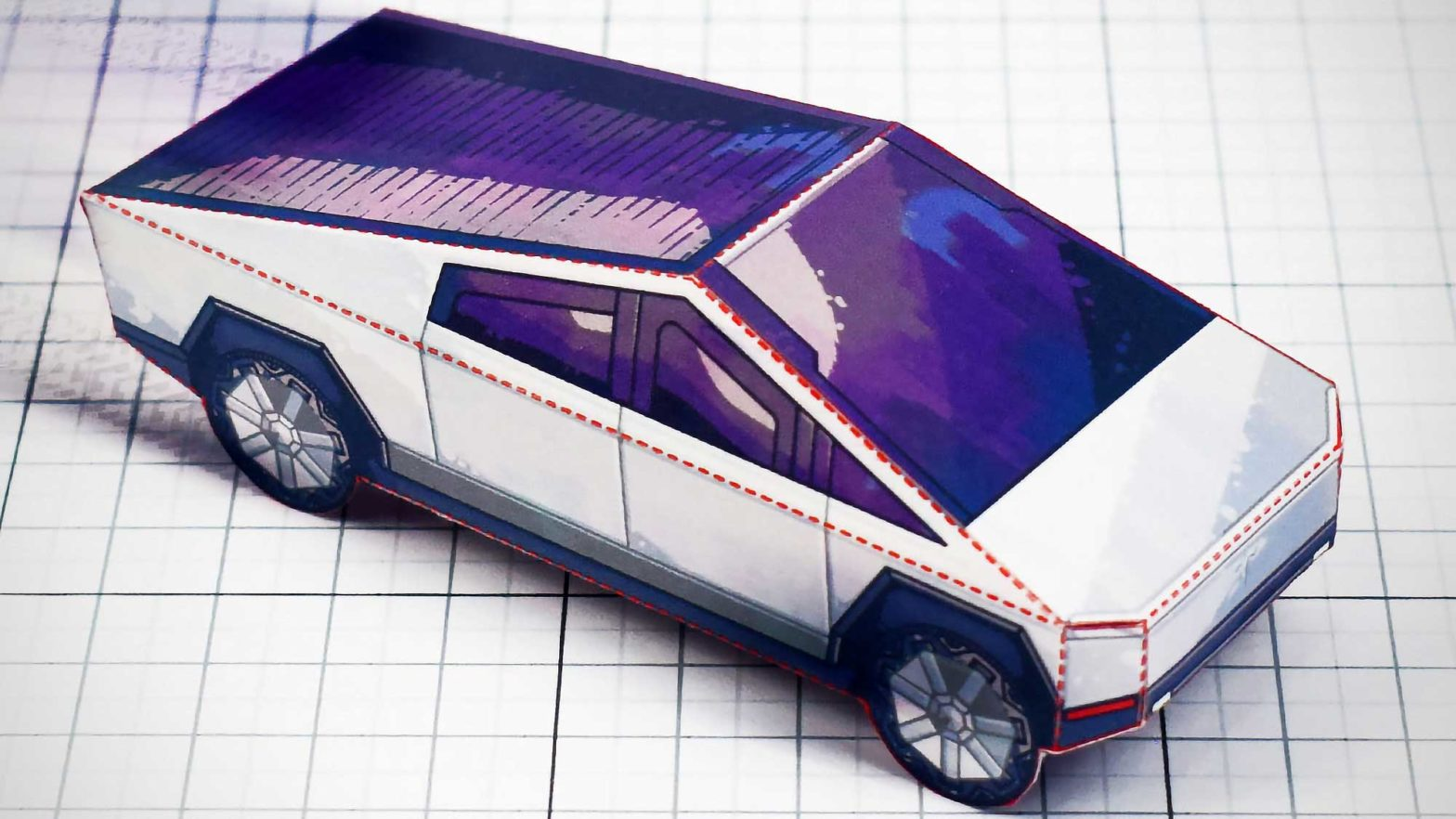 Fold-up Paper Tesla Cybertruck Model