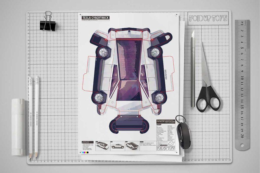 Fold-up Paper Tesla Cybertruck Model