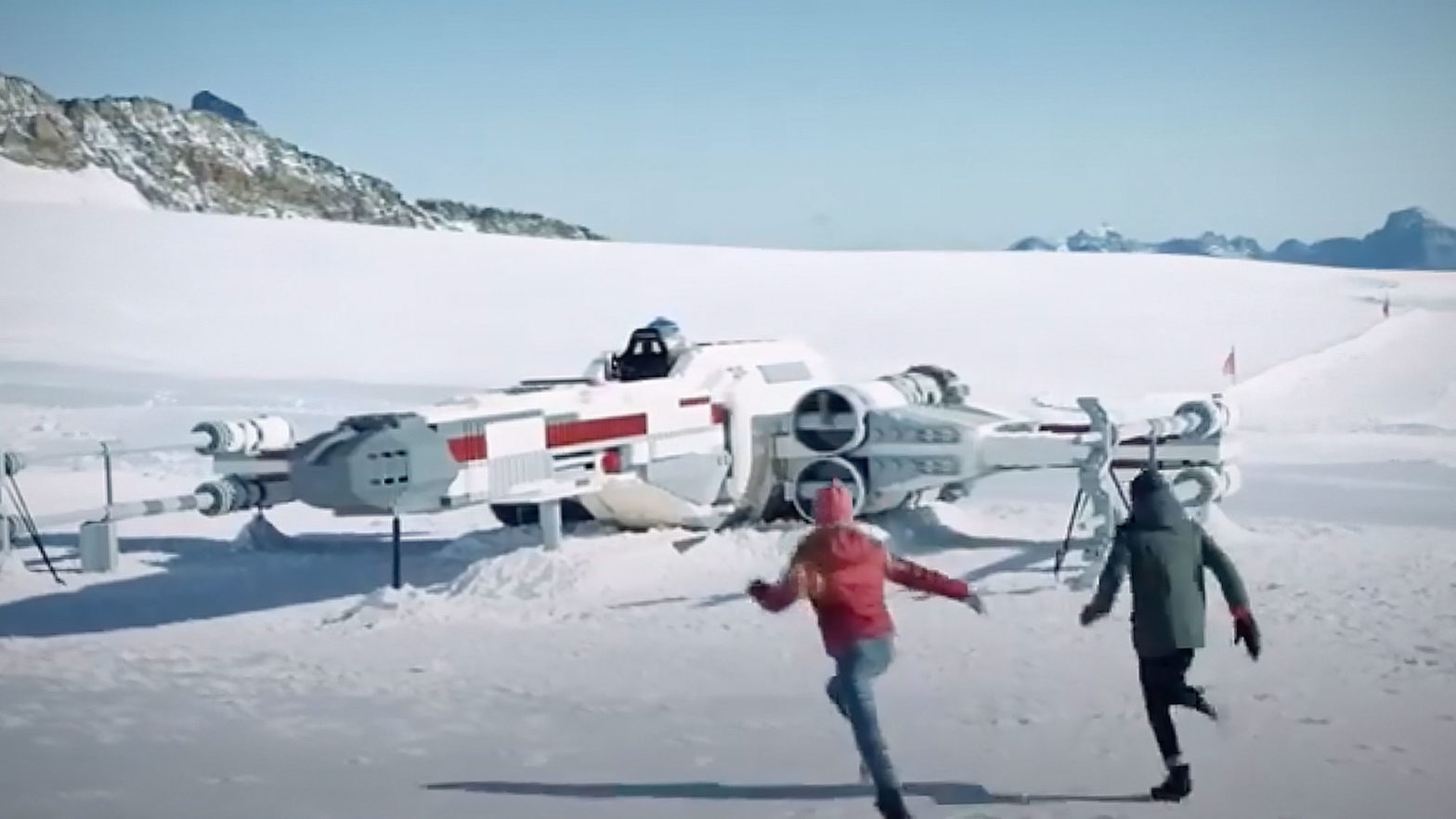 Life-size LEGO Star Wars X-Wing on Jungfraujoch