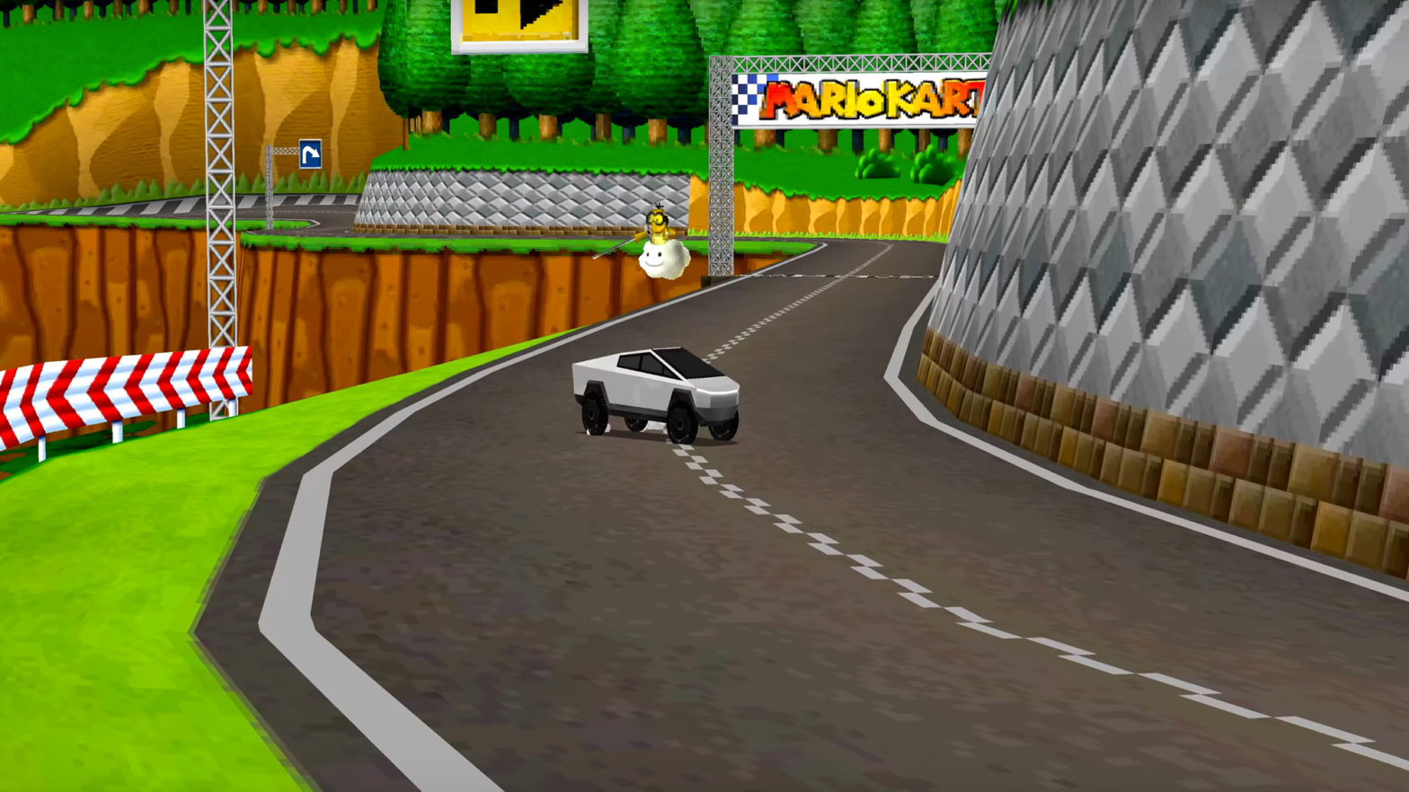 Tesla Cybertruck in Mario Kart DS