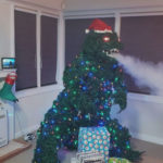 Someone Built And Sold A <em>Godzilla</em> Christmas Tree That Spews Smoke