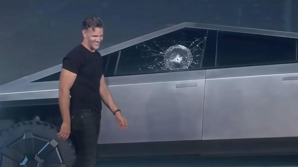Tesla Cybertruck Shattered Windows