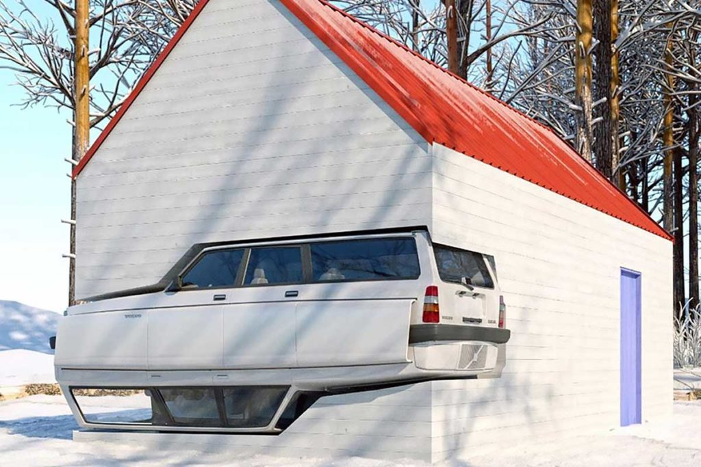 Winter Cabin with Volvo 240