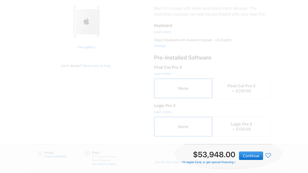 Apple Mac Pro Full Load Out Price Screenshot