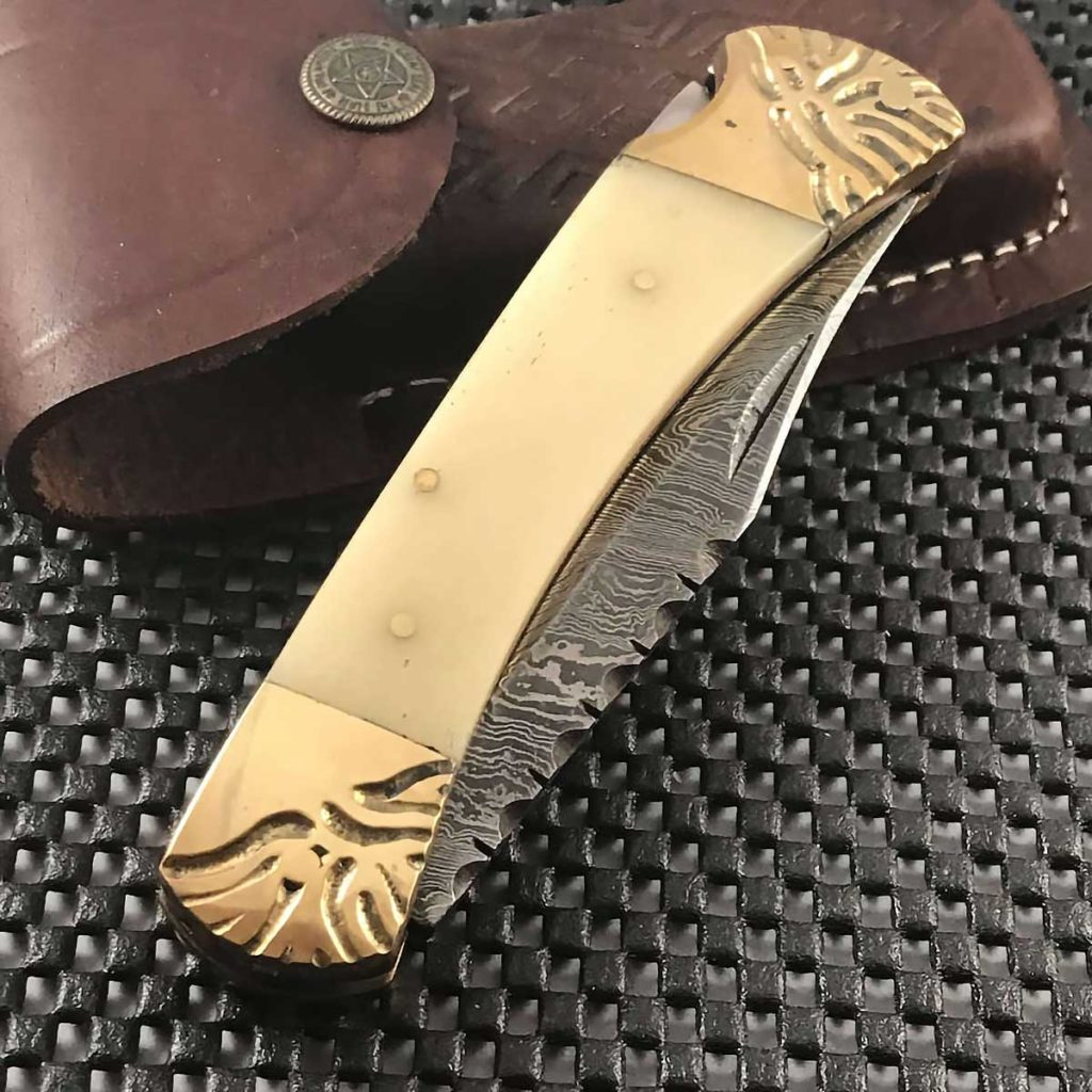Bone Handle Damascus Steel Folding Knife