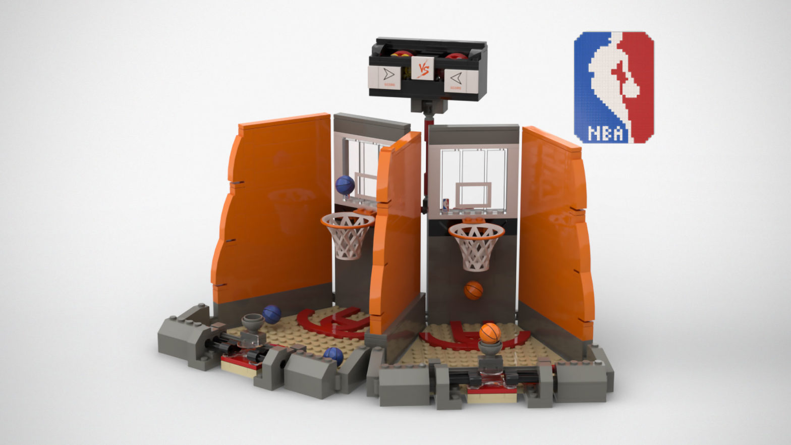 Custom LEGO 2-Player Table Basketball Set