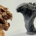 1954 And 2019 Godzilla Busts In Kit Form by Ken-ichi Tanaka Of Tanaka Studio