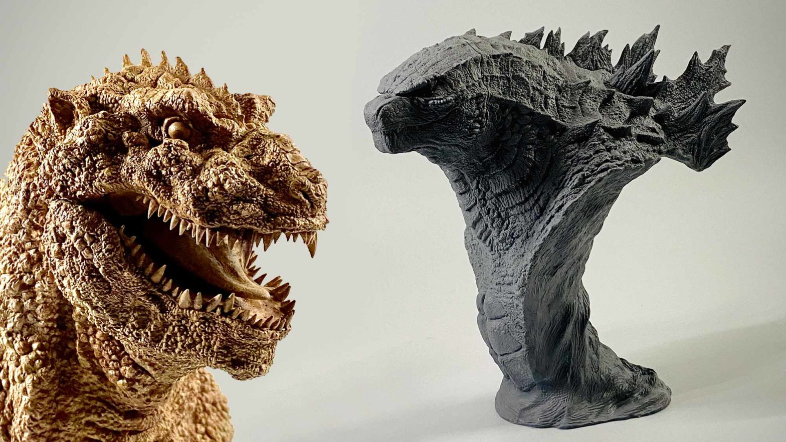 1954 and 2019 Godzilla Busts by Tanaka Studio