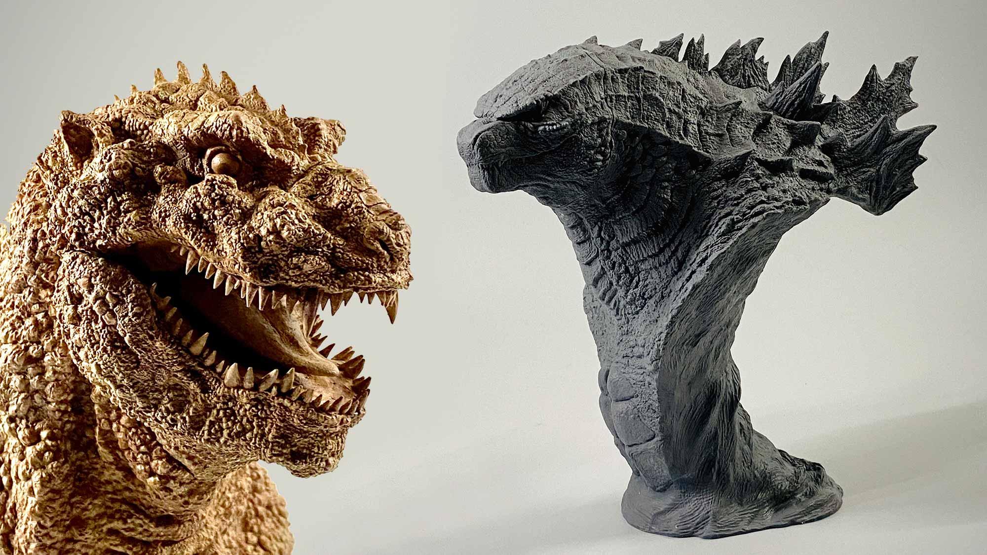 1954 And 2019 Godzilla Busts In Kit Form By Ken Ichi Tanaka Of Tanaka Studio Shouts
