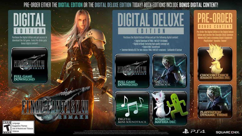 Final Fantasy VII Remake Video Game Digital Deluxe Edition